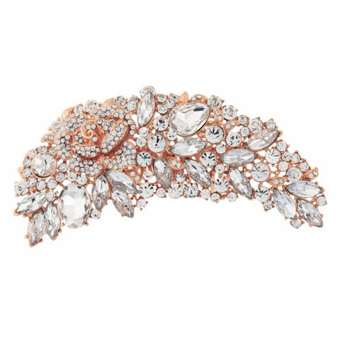 Fleur Rose Gold and Crystal Brooch