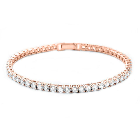 Rose Gold Single Row Crystal Tennis Bracelet with clasp fastening