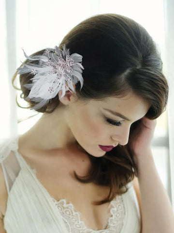 SassB Seraphina Feather Hair Piece - Silver
