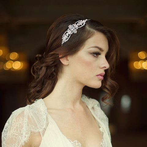 SassB Bella Crystal and Pearl Side Tiara