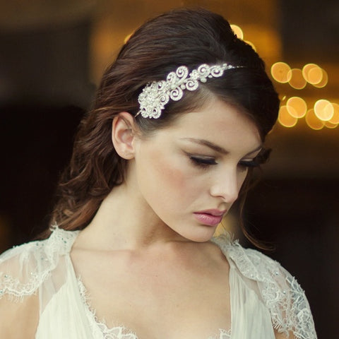 SassB Cecelia Crystal and Pearl Hair Band