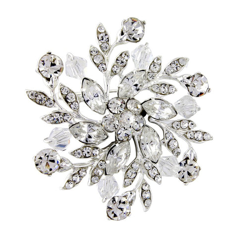 Crystal brooch made with clear Swarovski crystals on a silver plated finish, brooch measures 5cm by 5cm
