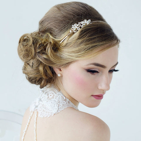 SassB Aimee Crystal and Pearl Flower Headband Tiara
