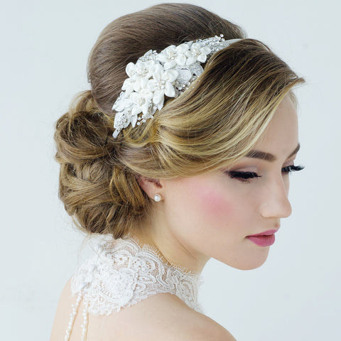 SassB Grace Flower and Pearl Hair Band Tiara