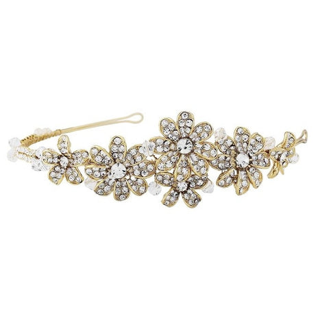 SassB Nellie Gold Crystal Flower Hair Band Tiara