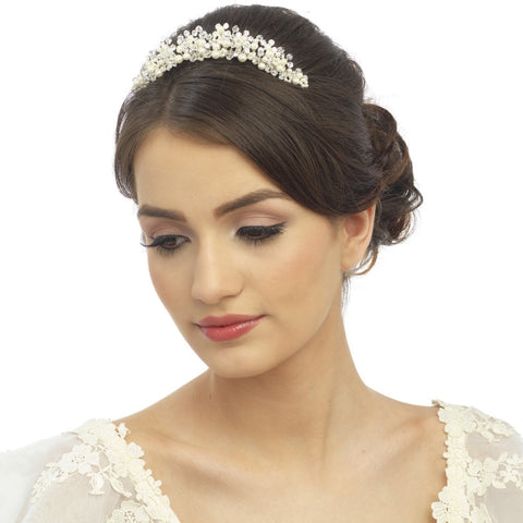 SassB Marietta Crystal and Pearl Tiara