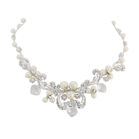 Crystal and pearl necklace made with ivory pearls, Swarovski crystals and beads on a real silver plated chain