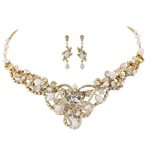 SassB Adelina Crystal and Pearl Necklace Set
