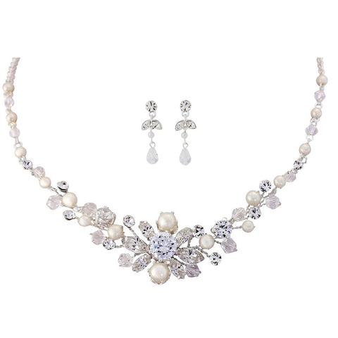 SassB Demetria Pearl and Crystal Necklace Set