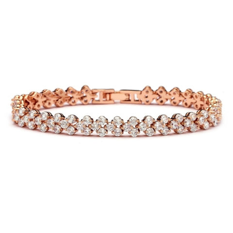 Crystal bracelet made with clear crystals on a rhodium plated rose gold finish