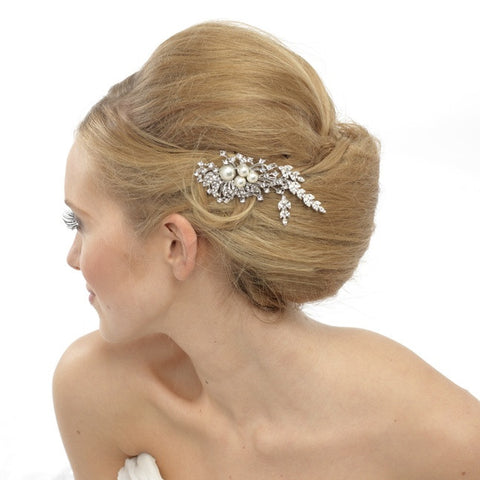 Una Crystal and Pearl Hair Pin