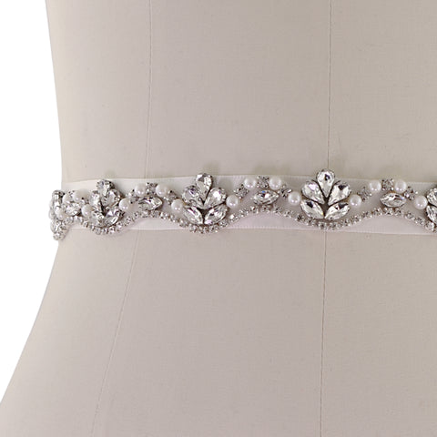 Vintage Style Silver Crystal and Pearl Bridal Belt on Ivory Ribbon