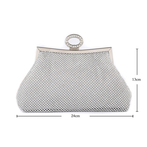 Ayida Silver Evening Clutch Bag