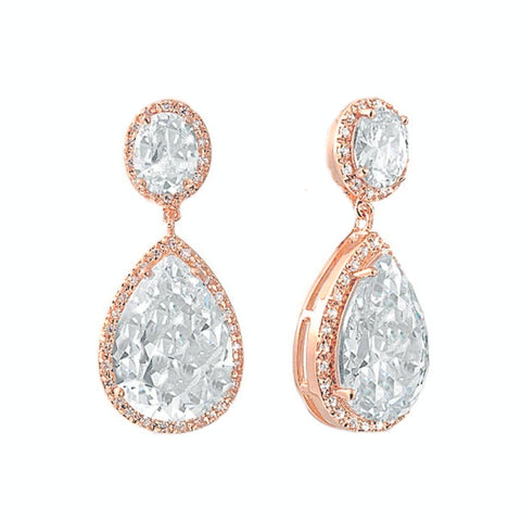 Crystal drop earrings made from top grade clear cubic zirconia crystals on a rose gold finish, they measure 3.5cm long by 1.5cm wide