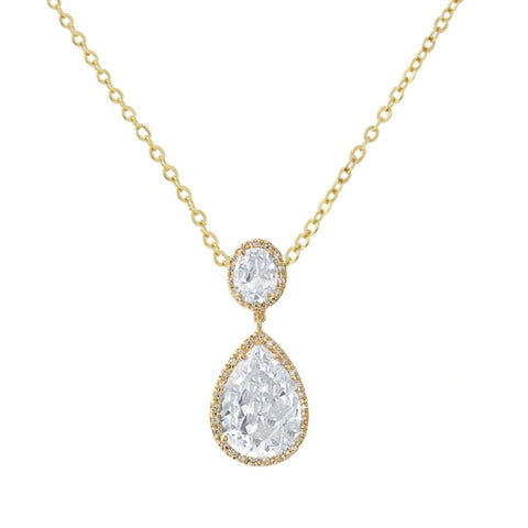 Crystal necklace made from top grade clear cubic zirconia crystals on a gold tone finish, pendant is 3.5cm long