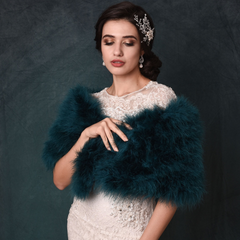 Teal Green Marabou Feather Stole on a model over a wedding gown