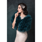 Side View of Teal Green Marabou Feather Stole on a model over a wedding gown