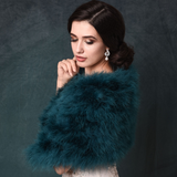 SideBack view of Teal Green Marabou Feather Stole on a model over a wedding gown