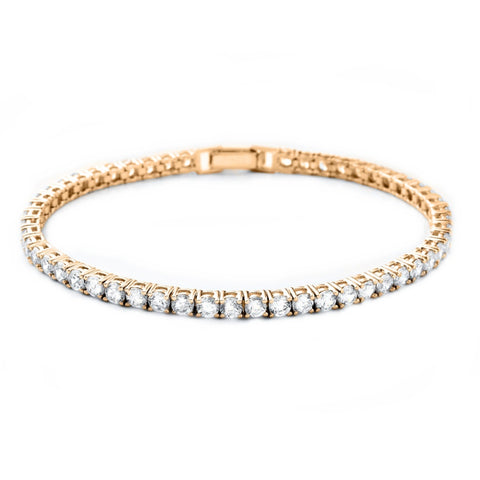 Gold Single Row Crystal Tennis Bracelet with clasp fastening