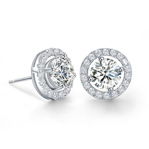 Crystal earrings made with clear cubic zirconia crystals on a silver tone finish, they measure 1cm by 1cm