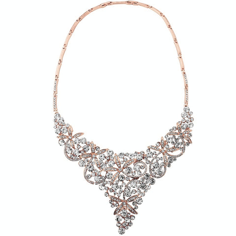 Crystal necklace made with clear crystals on a rose gold finish, necklace measures 20cm