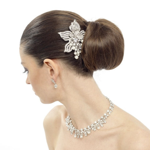 Naomi Crystal and Pearl Flower Hair Comb