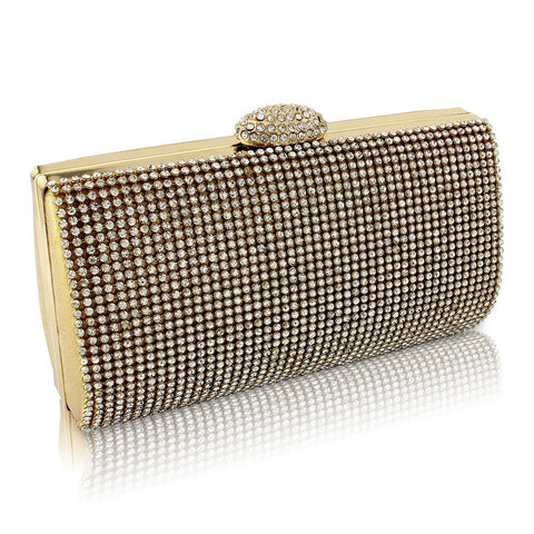 Daisy Crystal Clutch Bag - Gold