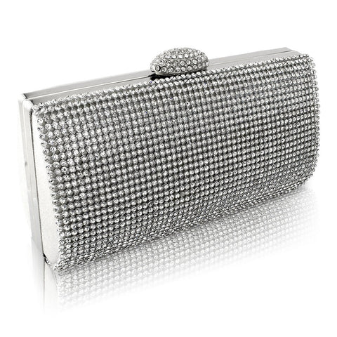 Daisy Crystal Clutch Bag - Silver
