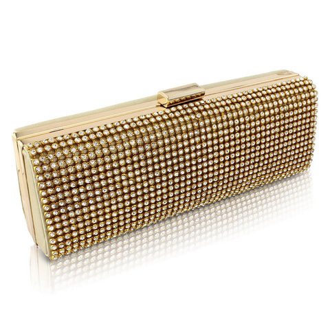 Isabel Crystal Clutch Bag - Gold