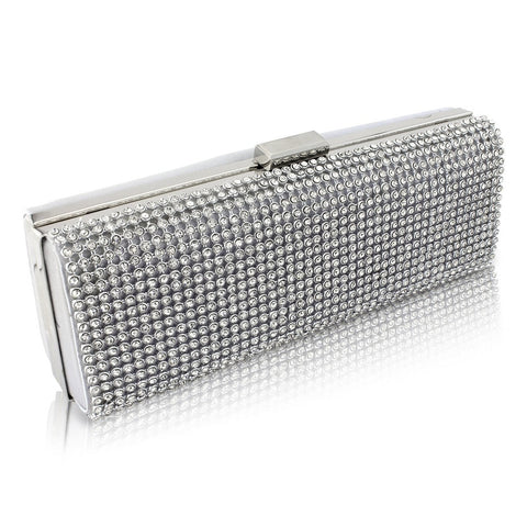 Isabel Crystal Clutch Bag - Silver
