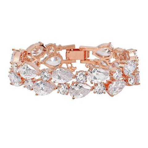 Rose Gold Crystal Bracelet. 17cm long with clasp fastening