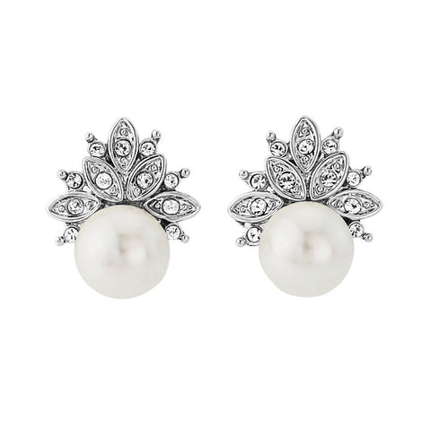Beautiful pearl earrings encased in ovals of silver and crystals