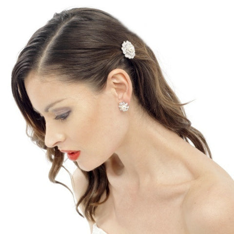 Kara Crystal and Pearl Flower Earrings