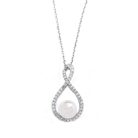 Taryn Crystal & Pearl Necklace - Available in Silver & Rose Gold