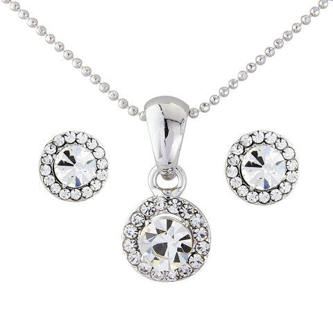 Thea Crystal Necklace and Earring Set