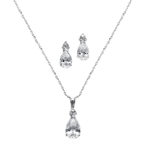 Fully adjustable necklace and earrings set made from clear cubic zirconia on a rhodium plated silver tone finish, earrings measure 1.75cm.
