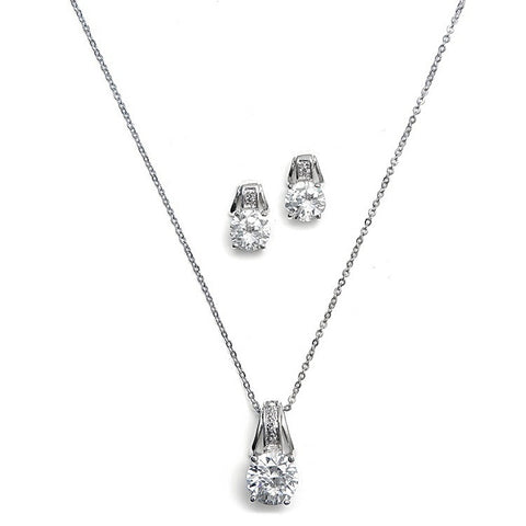 Hazeline Crystal and Pearl Necklace Set