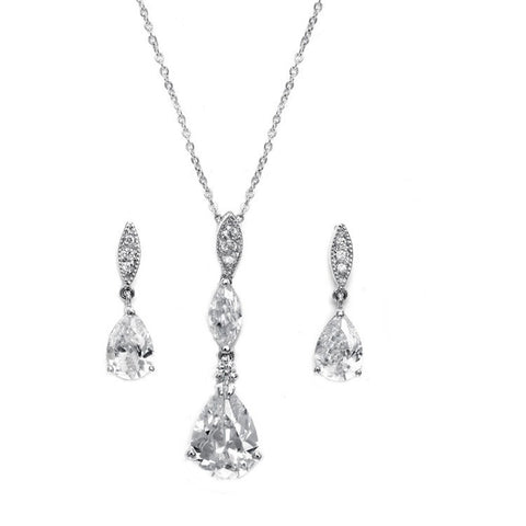 Crystal necklace and earrings set made with cubic zirconia crystals on a rhodium plated finish, the necklace is adjustable and the earrings measure 2cm long