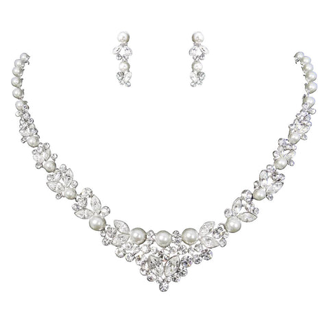 Sabrina Crystal and Pearl Necklace Set
