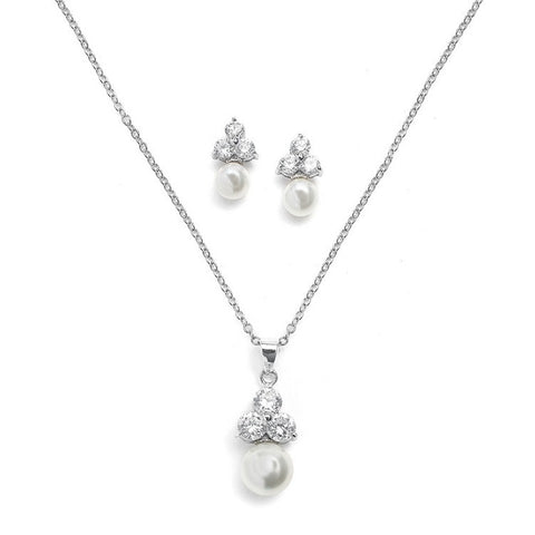Helene Crystal and Pearl Necklace Set