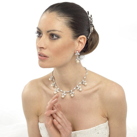 Valeria Pearl and Crystal Necklace Set