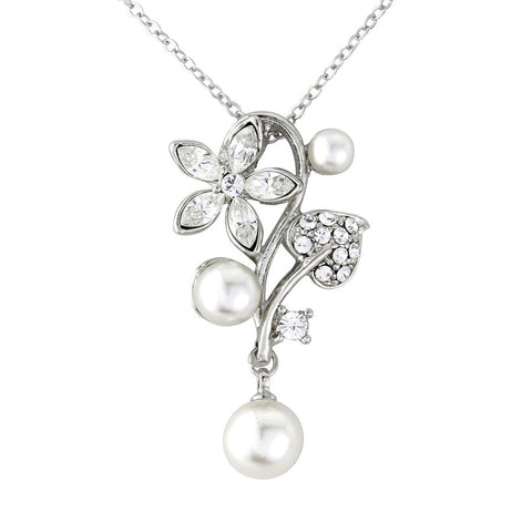 Crystal and pearl necklace made from clear cubic zirconia crystals and ivory simulated pearls on a silver tone finish, pendant measures 4.5cm long.