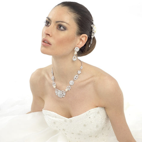 Nicolette Crystal and Pearl Necklace Set