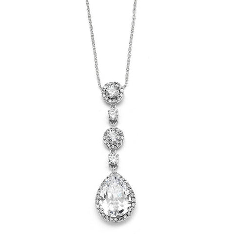 Fully adjustable crystal necklace made from clear cubic zirconia crystals on a rhodium plated silver tone finish, pendant measures 5.2cm.