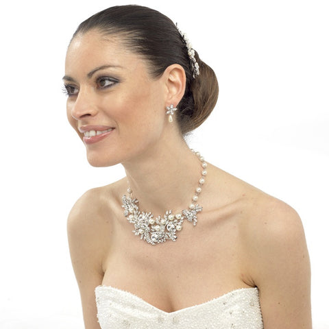 Melinda Crystal and Pearl Necklace Set