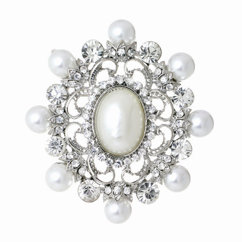 Natalie Crystal and Pearl Brooch