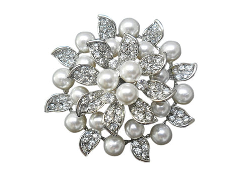 Pippa Crystal and Pearl Brooch
