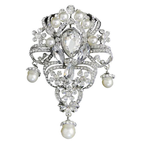 Lora Crystal and Pearl Brooch