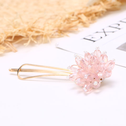 Carrie Crystal Cluster Hair Clip - Available in Pink, White, Grey and Amber Gold