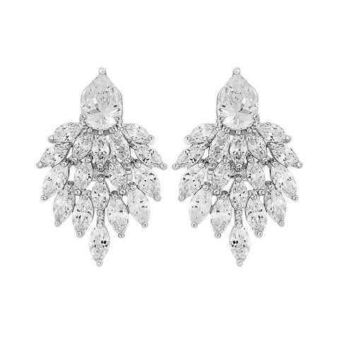 Crystal earrings made with clear crystals on a rhodium plated finish.